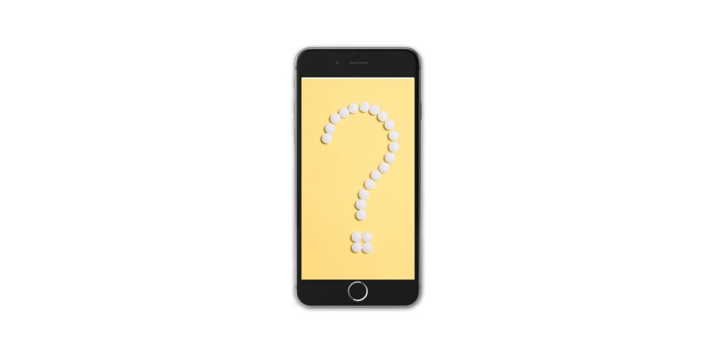 はてなマークが表示されたiPhone8